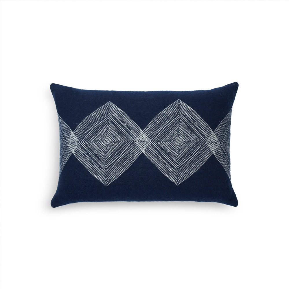 NAVY LINEAR SQUARES CUSHION